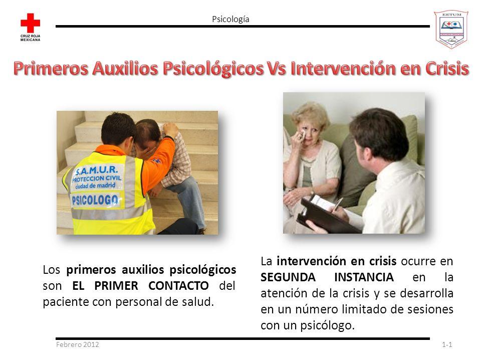 Febrero 20121-1 Psicología Los primeros auxilios psicológicos son EL PRIMER CONTACTO del paciente con personal de salud. La intervención en crisis ocu
