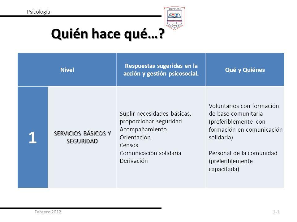 Febrero 20121-1 Psicología Quién hace qué…? Nivel Respuestas sugeridas en la acción y gestión psicosocial. Qué y Quiénes 1 SERVICIOS BÁSICOS Y SEGURID