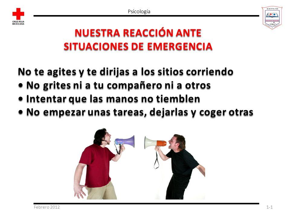 Febrero 20121-1 Psicología NUESTRA REACCIÓN ANTE SITUACIONES DE EMERGENCIA No te agites y te dirijas a los sitios corriendo No grites ni a tu compañer