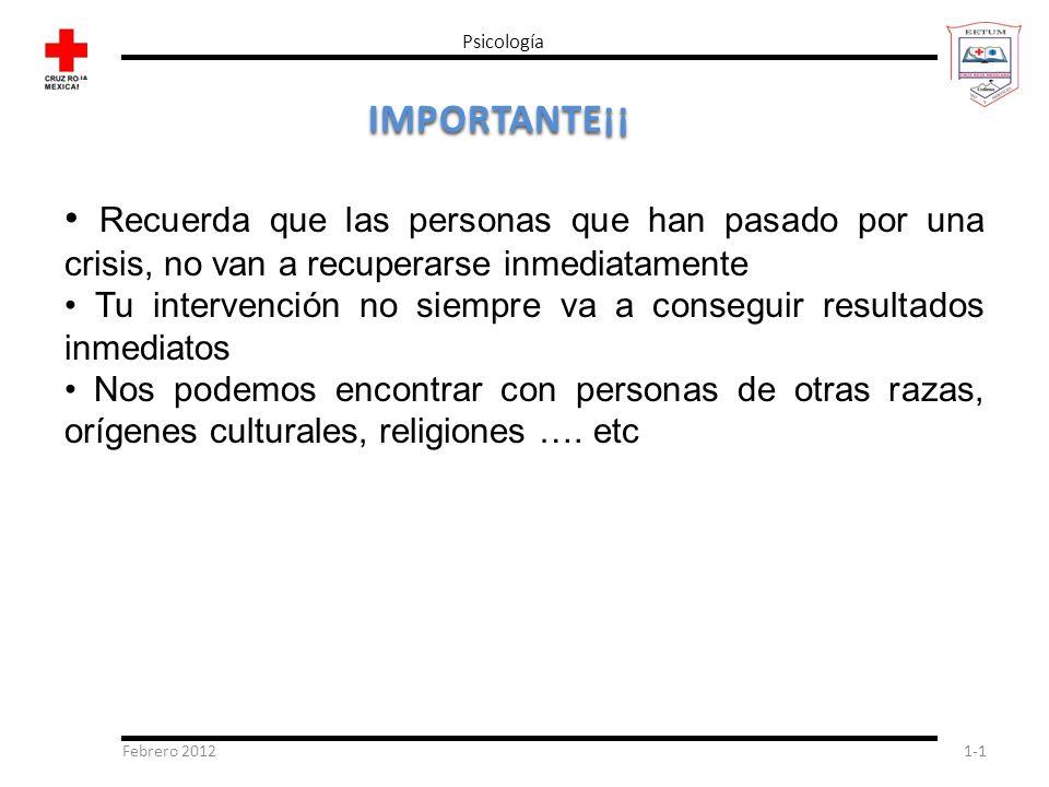 Febrero 20121-1 Psicología IMPORTANTE¡¡ Recuerda que las personas que han pasado por una crisis, no van a recuperarse inmediatamente Tu intervención n