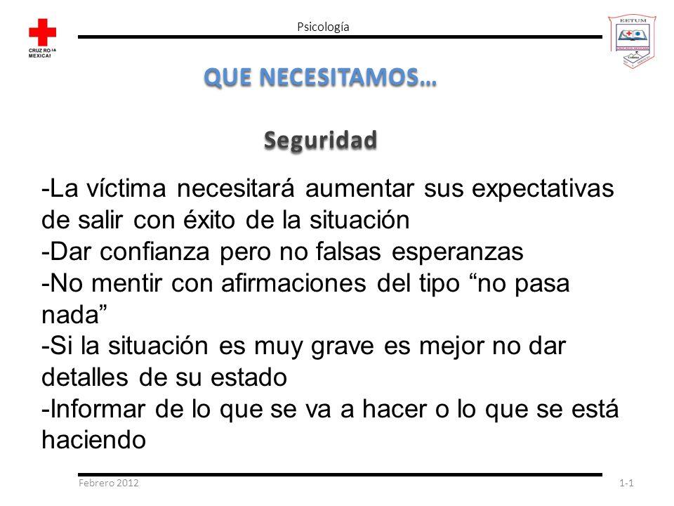 Febrero 20121-1 Psicología QUE NECESITAMOS… Seguridad -La víctima necesitará aumentar sus expectativas de salir con éxito de la situación -Dar confian