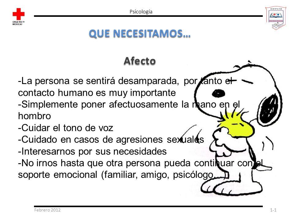 Febrero 20121-1 Psicología QUE NECESITAMOS… Afecto -La persona se sentirá desamparada, por tanto el contacto humano es muy importante -Simplemente pon