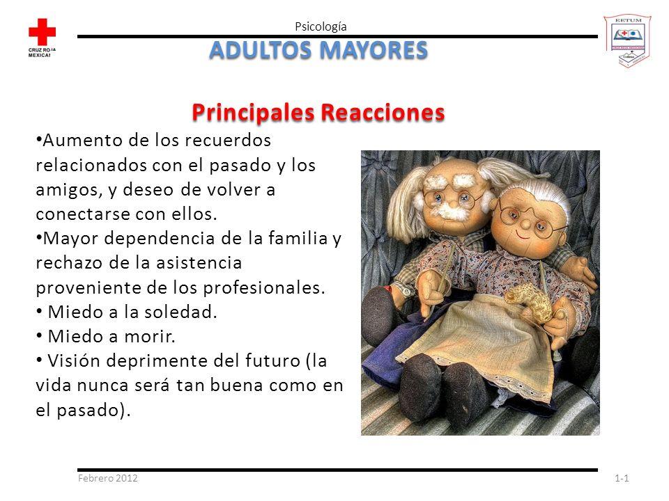Febrero 20121-1 Psicología ADULTOS MAYORES Principales Reacciones Aumento de los recuerdos relacionados con el pasado y los amigos, y deseo de volver