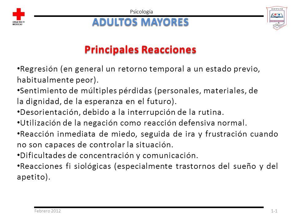 Febrero 20121-1 Psicología ADULTOS MAYORES Principales Reacciones Regresión (en general un retorno temporal a un estado previo, habitualmente peor). S