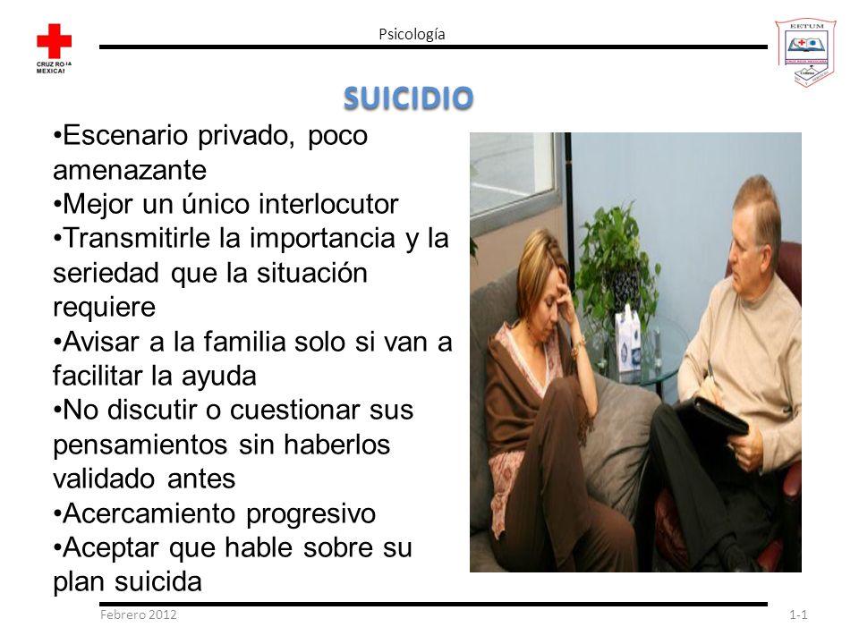 Febrero 20121-1 Psicología SUICIDIO Escenario privado, poco amenazante Mejor un único interlocutor Transmitirle la importancia y la seriedad que la si