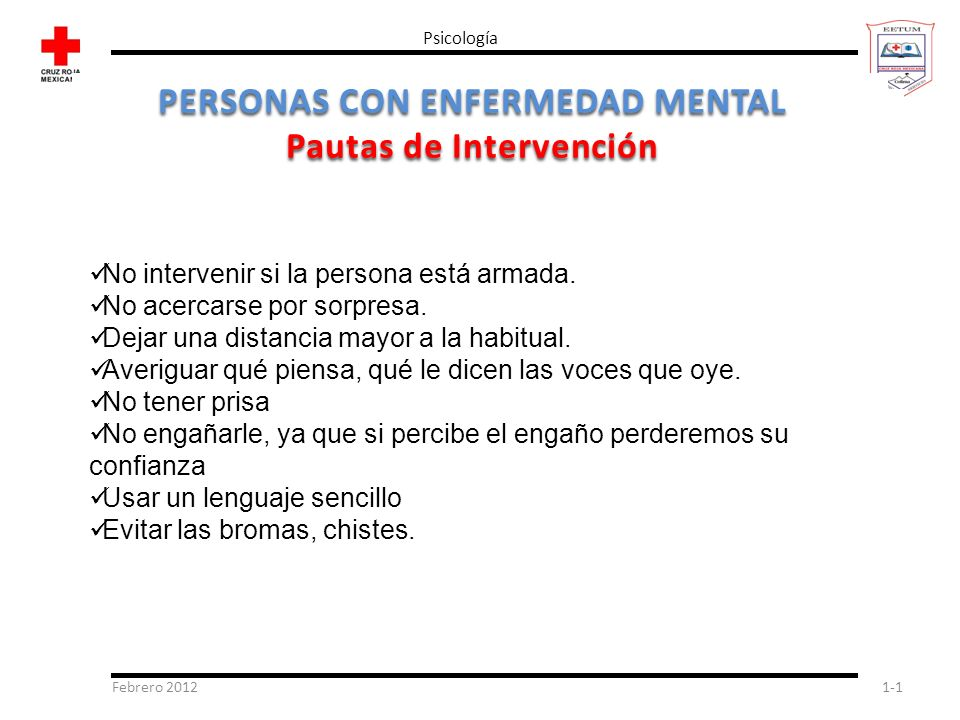 Febrero 20121-1 Psicología PERSONAS CON ENFERMEDAD MENTAL Pautas de Intervención No intervenir si la persona está armada. No acercarse por sorpresa. D