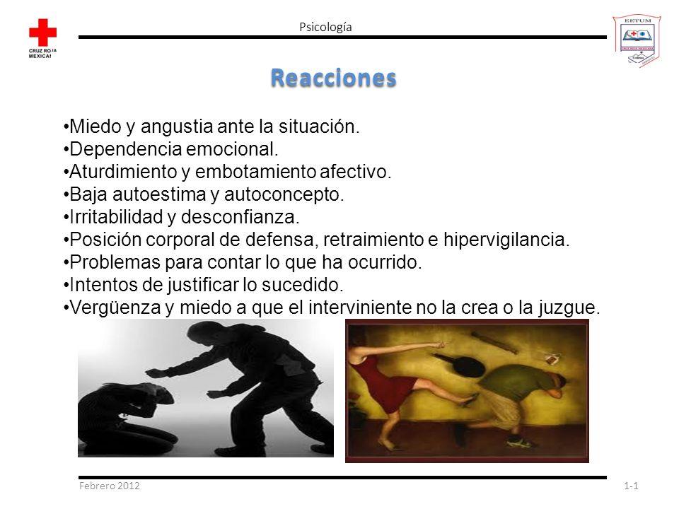Febrero 20121-1 Psicología Reacciones Miedo y angustia ante la situación. Dependencia emocional. Aturdimiento y embotamiento afectivo. Baja autoestima