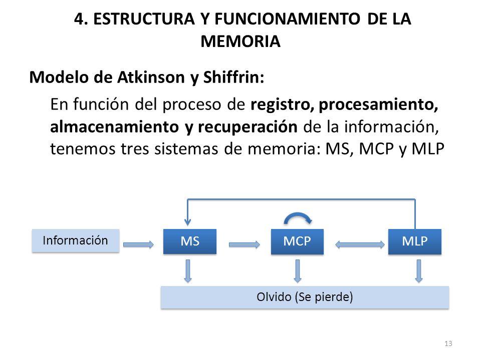 4. ESTRUCTURA Y FUNCIONAMIENTO DE LA MEMORIA Modelo de Atkinson y Shiffrin: En función del proceso de registro, procesamiento, almacenamiento y recupe