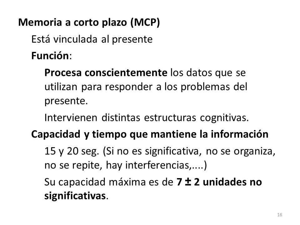 Memoria a corto plazo (MCP) Está vinculada al presente Función: Procesa conscientemente los datos que se utilizan para responder a los problemas del p