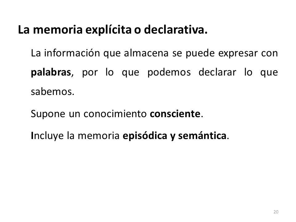 La memoria explícita o declarativa. La información que almacena se puede expresar con palabras, por lo que podemos declarar lo que sabemos. Supone un