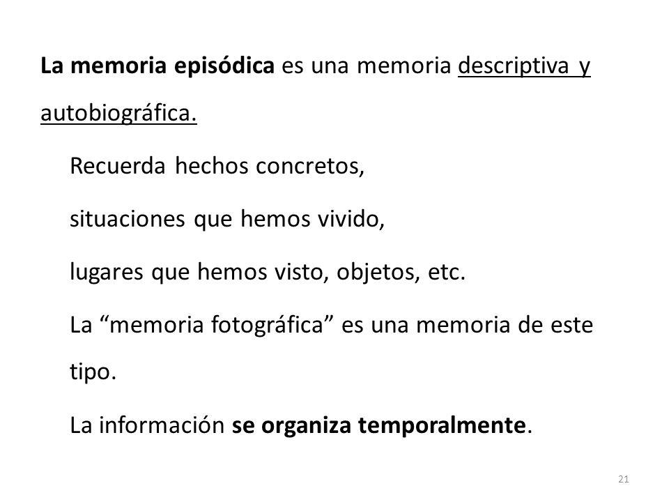 La memoria episódica es una memoria descriptiva y autobiográfica. Recuerda hechos concretos, situaciones que hemos vivido, lugares que hemos visto, ob