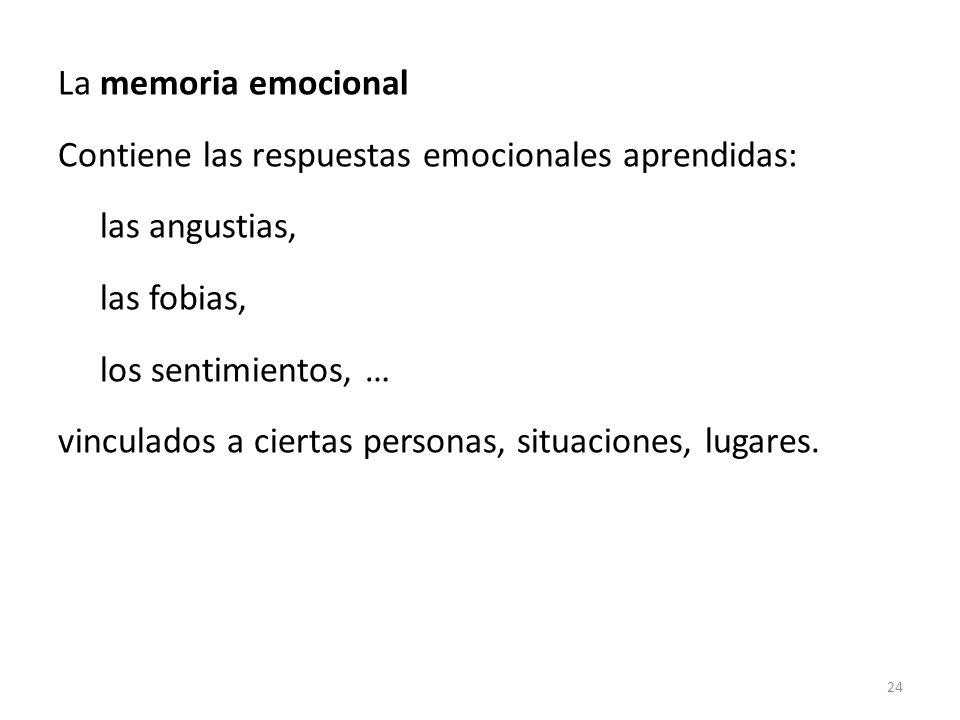 La memoria emocional Contiene las respuestas emocionales aprendidas: las angustias, las fobias, los sentimientos, … vinculados a ciertas personas, sit