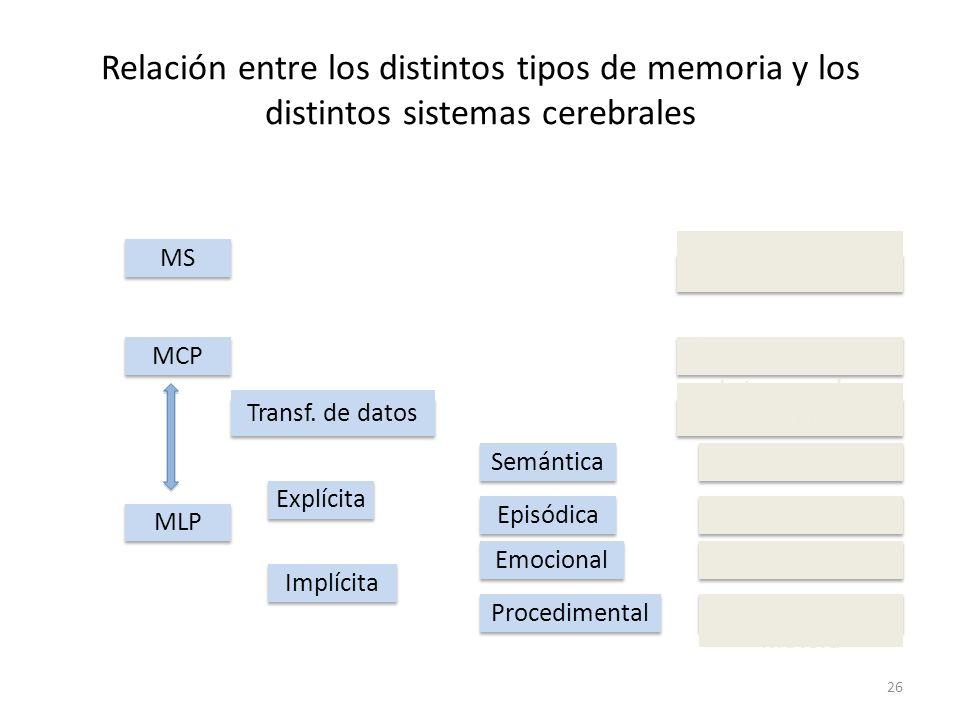 Relación entre los distintos tipos de memoria y los distintos sistemas cerebrales 26 MSMCPMLPImplícitaExplícita Transf. de datos SemánticaEpisódicaEmo