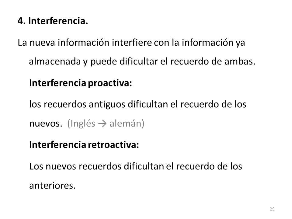 4. Interferencia. La nueva información interfiere con la información ya almacenada y puede dificultar el recuerdo de ambas. Interferencia proactiva: l