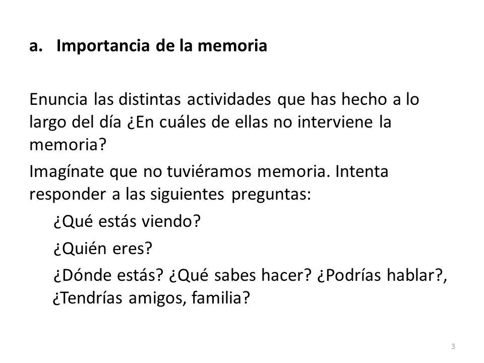 a.Importancia de la memoria Enuncia las distintas actividades que has hecho a lo largo del día ¿En cuáles de ellas no interviene la memoria? Imagínate