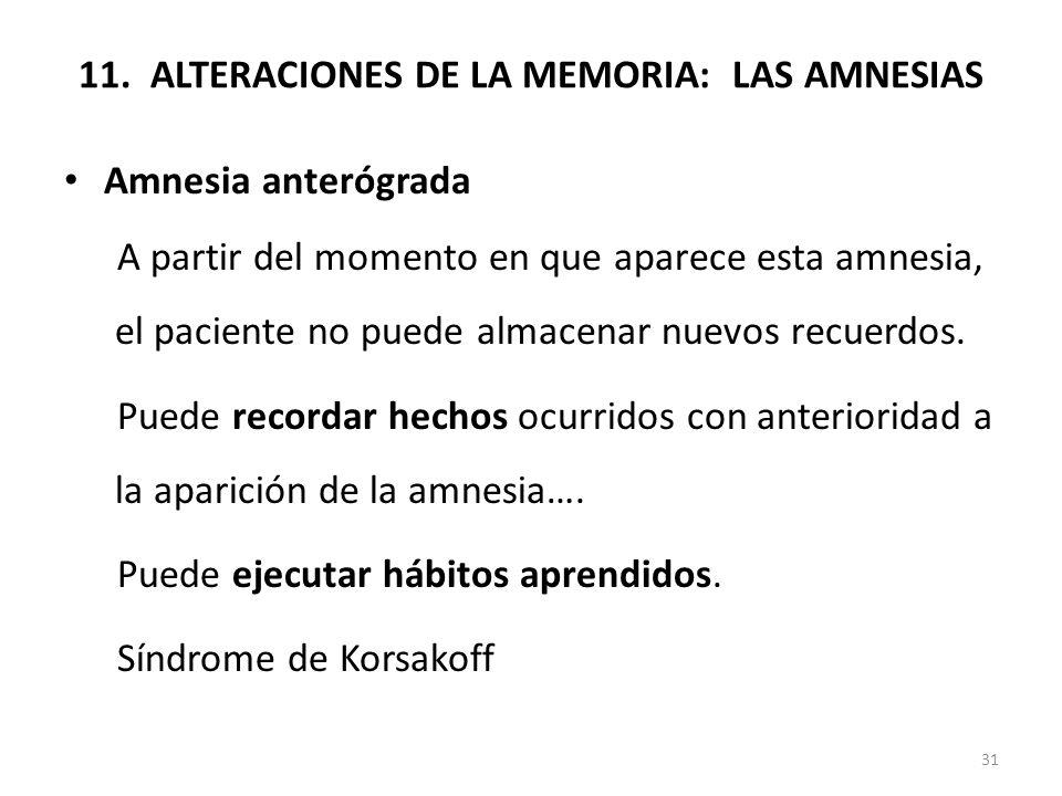 11. ALTERACIONES DE LA MEMORIA: LAS AMNESIAS Amnesia anterógrada A partir del momento en que aparece esta amnesia, el paciente no puede almacenar nuev