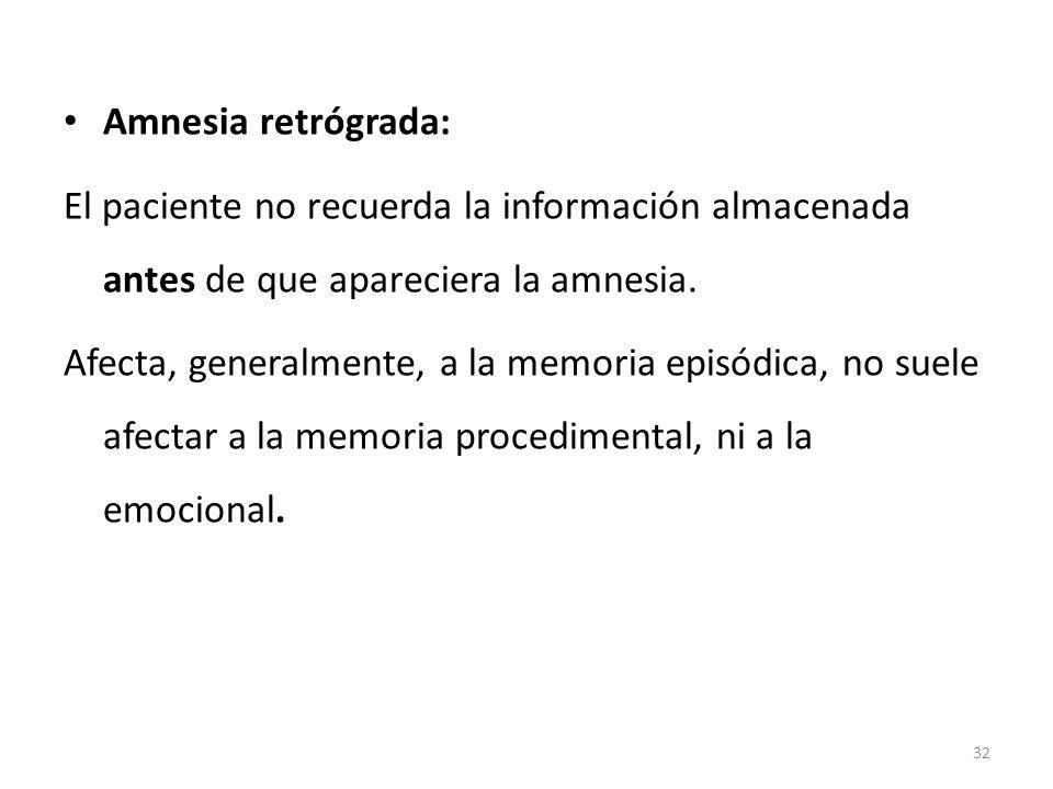 Amnesia retrógrada: El paciente no recuerda la información almacenada antes de que apareciera la amnesia. Afecta, generalmente, a la memoria episódica