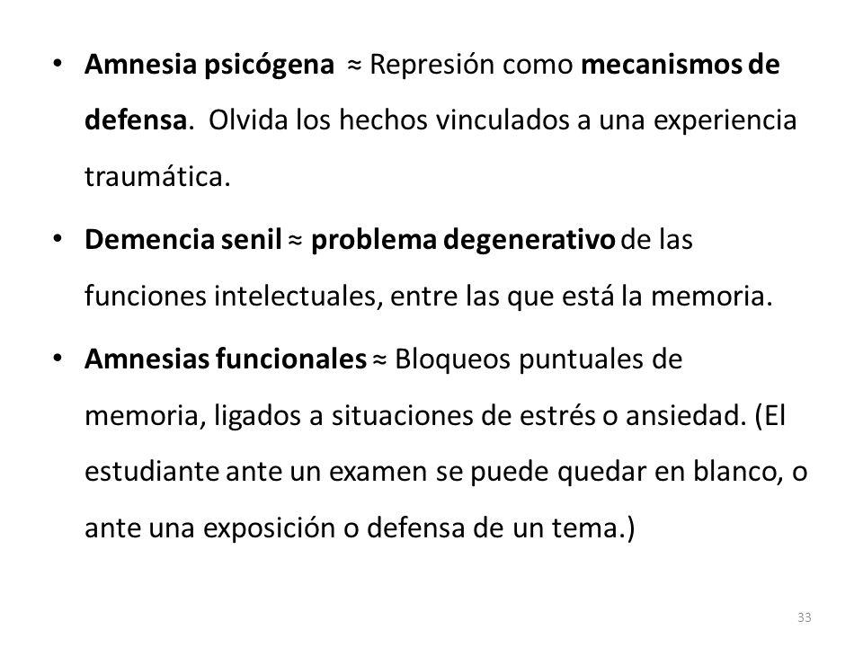Amnesia psicógena Represión como mecanismos de defensa. Olvida los hechos vinculados a una experiencia traumática. Demencia senil problema degenerativ