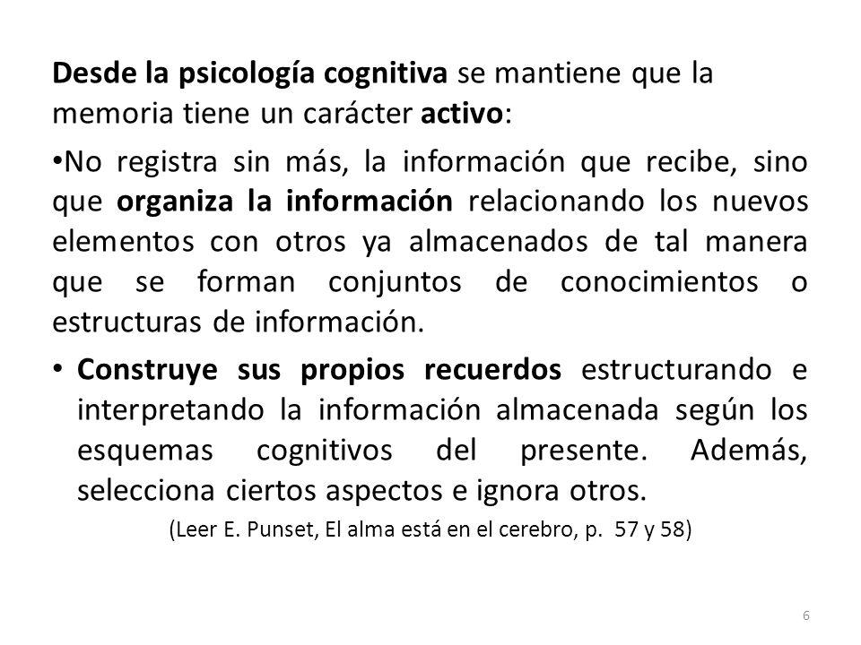Desde la psicología cognitiva se mantiene que la memoria tiene un carácter activo: No registra sin más, la información que recibe, sino que organiza l