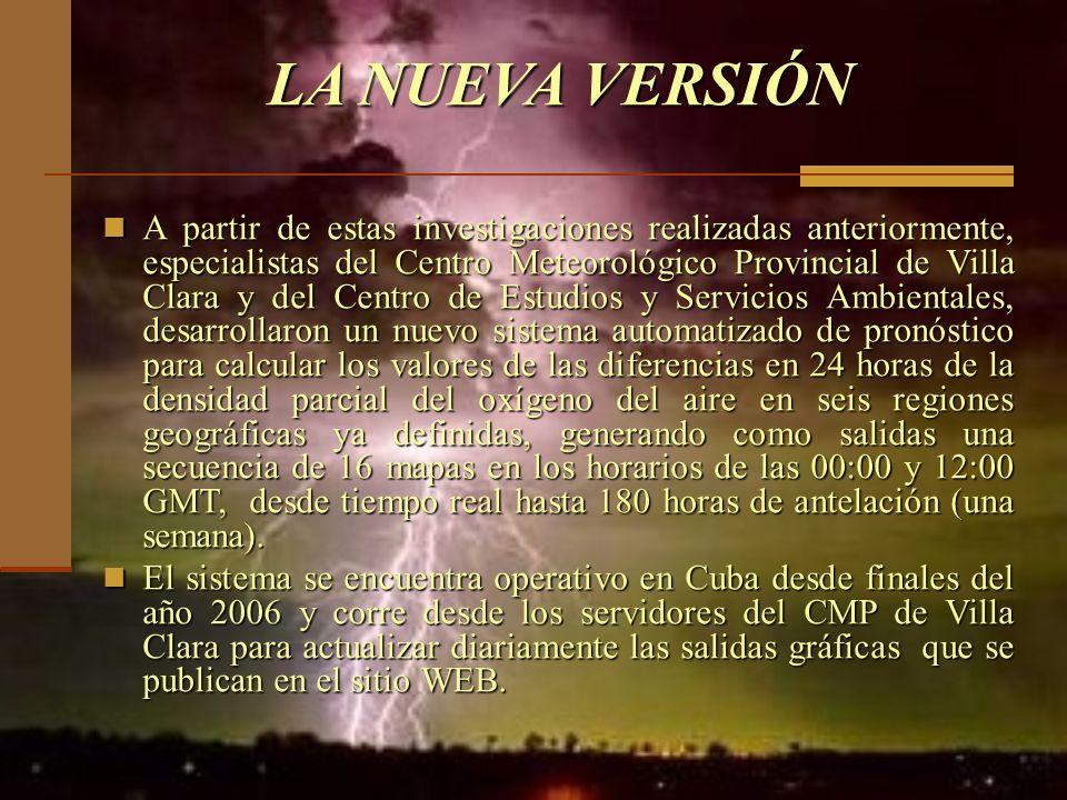 LA NUEVA VERSIÓN A partir de estas investigaciones realizadas anteriormente, especialistas del Centro Meteorológico Provincial de Villa Clara y del Ce