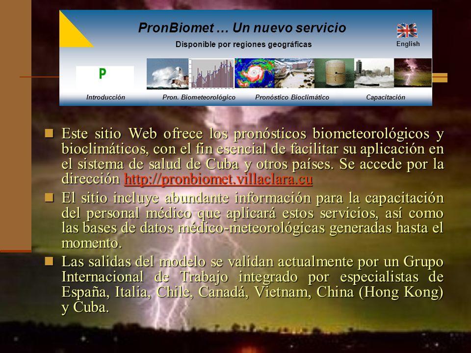 Este sitio Web ofrece los pronósticos biometeorológicos y bioclimáticos, con el fin esencial de facilitar su aplicación en el sistema de salud de Cuba