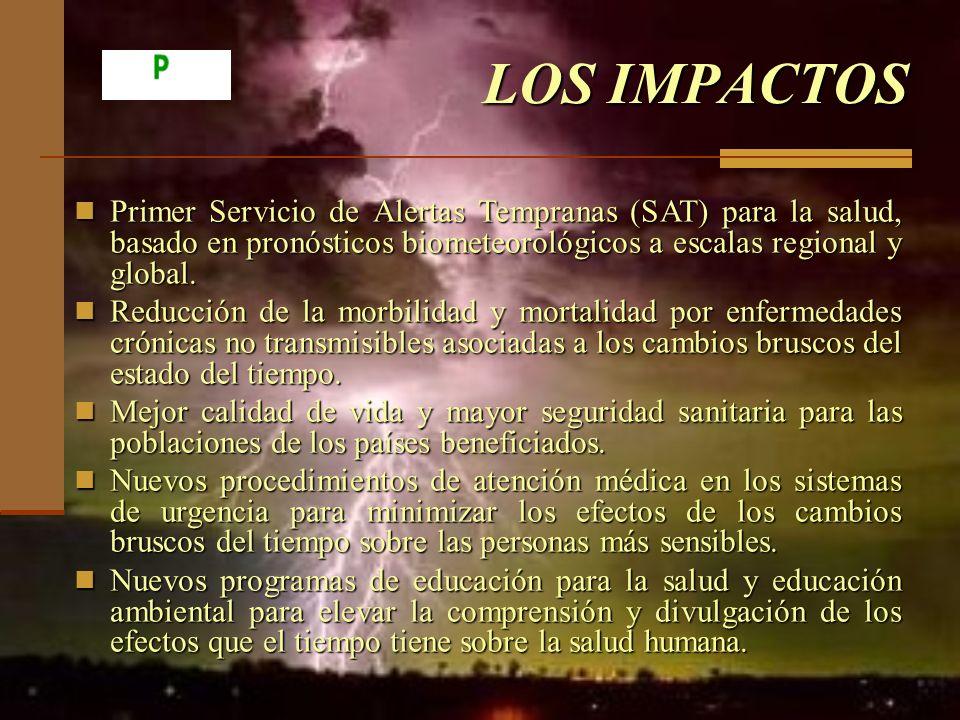 LOS IMPACTOS Primer Servicio de Alertas Tempranas (SAT) para la salud, basado en pronósticos biometeorológicos a escalas regional y global. Primer Ser