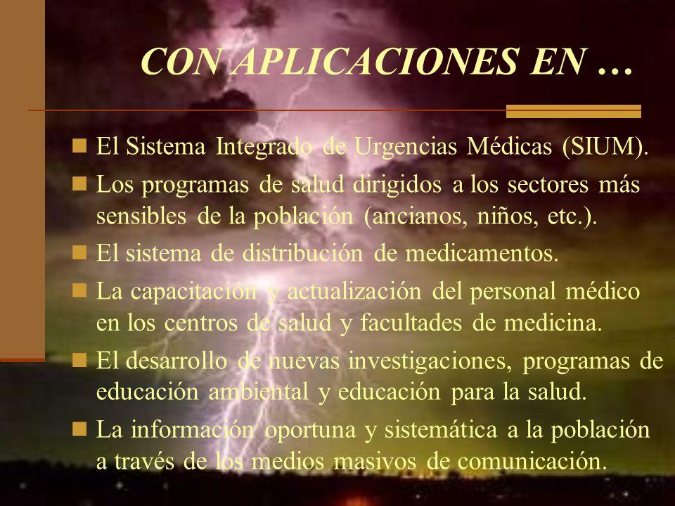 CON APLICACIONES EN … El Sistema Integrado de Urgencias Médicas (SIUM). Los programas de salud dirigidos a los sectores más sensibles de la población