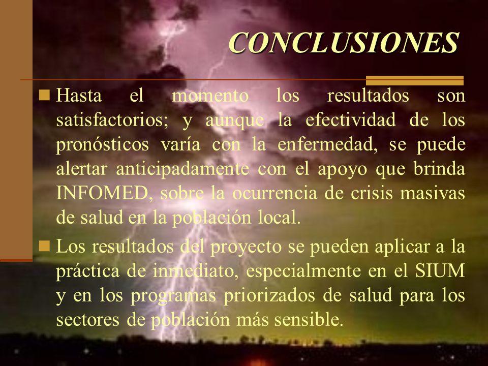CONCLUSIONES Hasta el momento los resultados son satisfactorios; y aunque la efectividad de los pronósticos varía con la enfermedad, se puede alertar