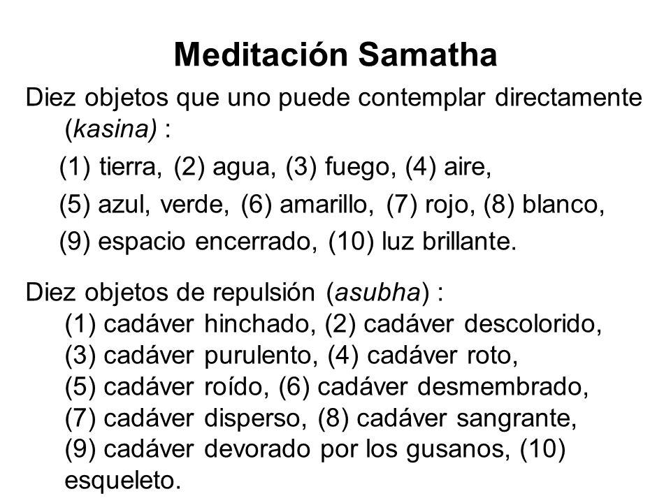 Meditación Samatha Diez objetos que uno puede contemplar directamente (kasina) : (1) tierra, (2) agua, (3) fuego, (4) aire, (5) azul, verde, (6) amarillo, (7) rojo, (8) blanco, (9) espacio encerrado, (10) luz brillante.