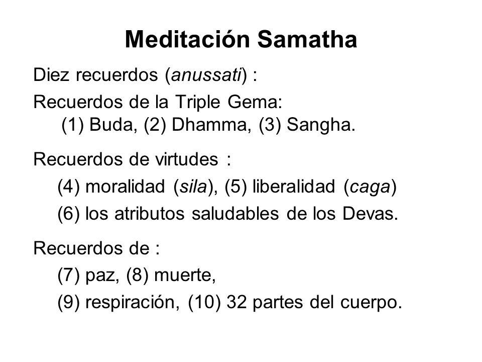 Meditación Samatha Diez recuerdos (anussati) : Recuerdos de la Triple Gema: (1) Buda, (2) Dhamma, (3) Sangha.