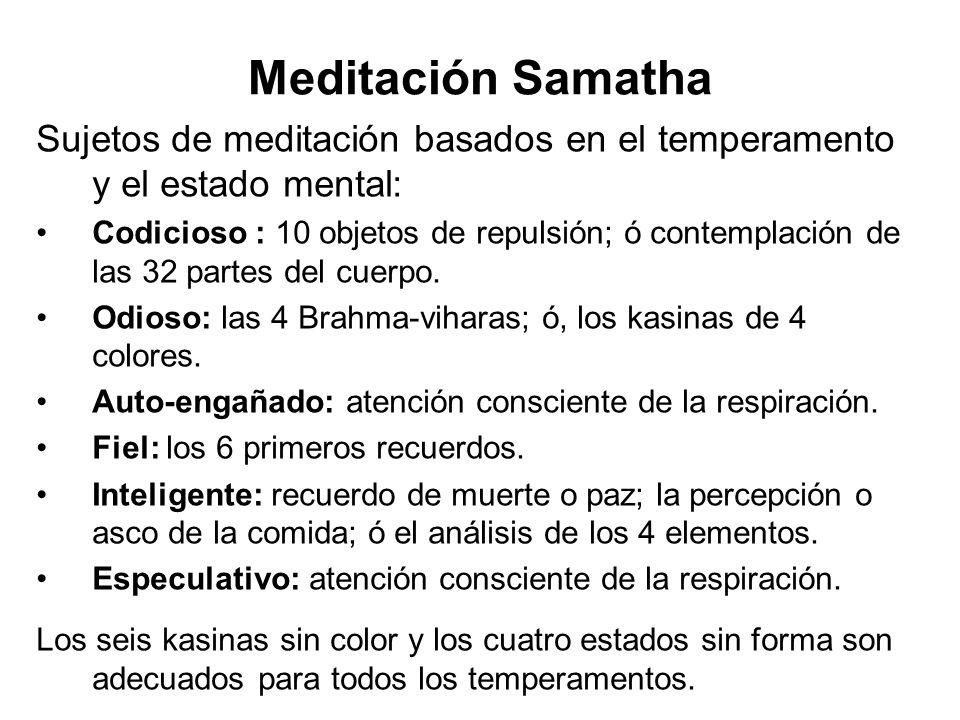 Meditación Samatha Sujetos de meditación basados en el temperamento y el estado mental: Codicioso : 10 objetos de repulsión; ó contemplación de las 32 partes del cuerpo.