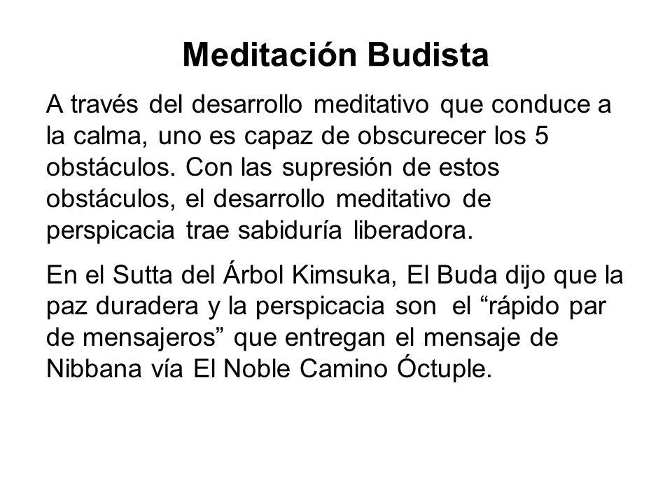 Meditación Budista A través del desarrollo meditativo que conduce a la calma, uno es capaz de obscurecer los 5 obstáculos.