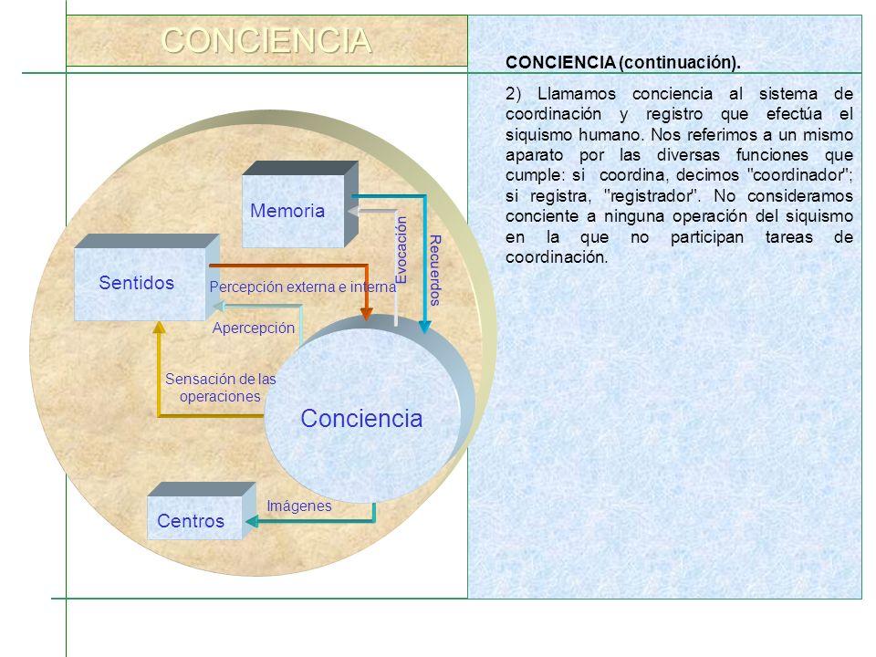 CONCIENCIA (continuación). 2) Llamamos conciencia al sistema de coordinación y registro que efectúa el siquismo humano. Nos referimos a un mismo apara