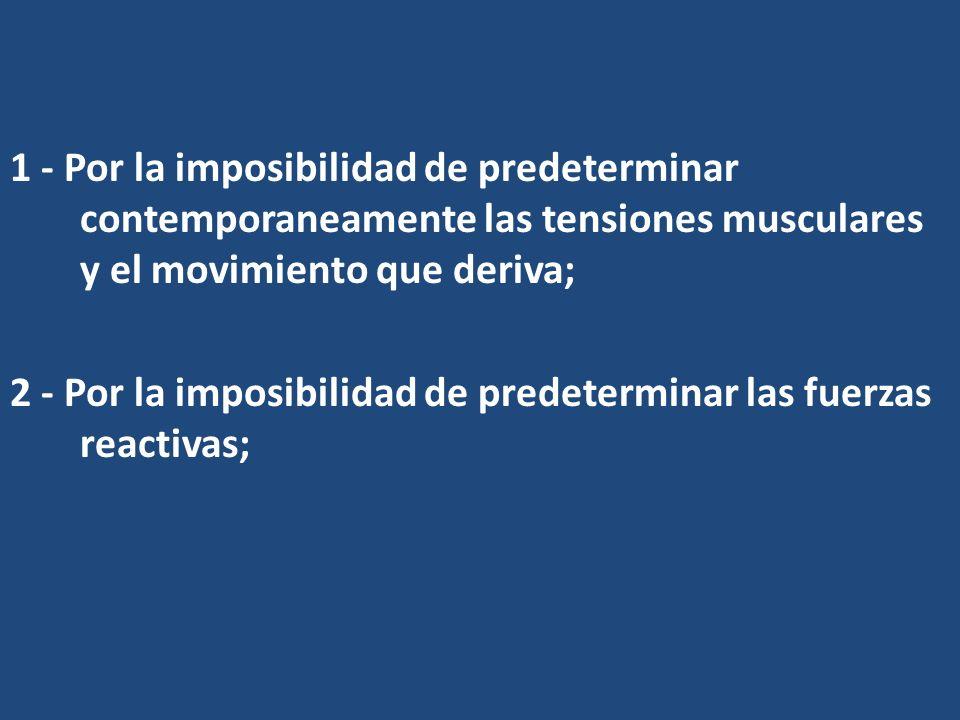1 - Por la imposibilidad de predeterminar contemporaneamente las tensiones musculares y el movimiento que deriva; 2 - Por la imposibilidad de predeter