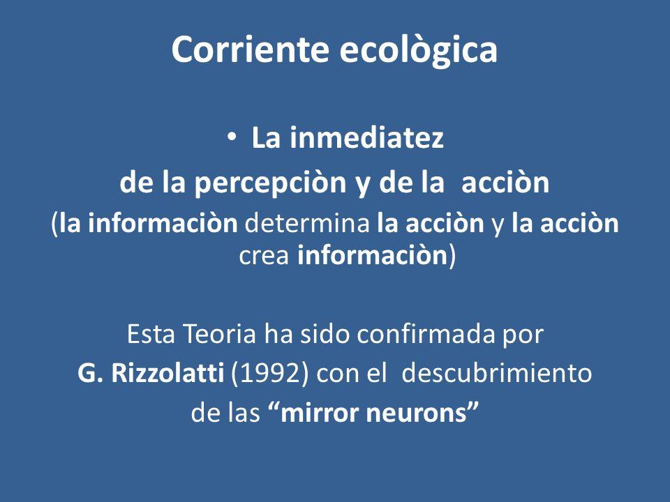 Corriente ecològica La inmediatez de la percepciòn y de la acciòn (la informaciòn determina la acciòn y la acciòn crea informaciòn) Esta Teoria ha sid