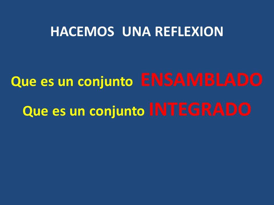 HACEMOS UNA REFLEXION Que es un conjunto ENSAMBLADO Que es un conjunto INTEGRADO