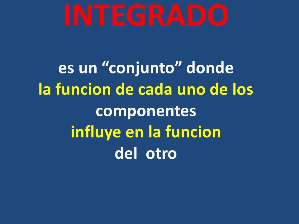 INTEGRADO es un conjunto donde la funcion de cada uno de los componentes influye en la funcion del otro