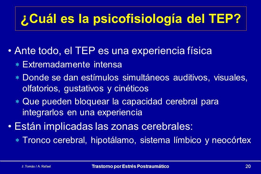 J.Tomàs / A. Rafael Trastorno por Estrés Postraumático20 ¿ Cuál es la psicofisiología del TEP.