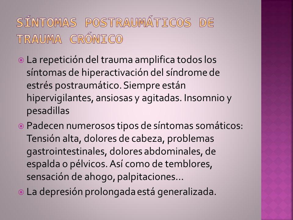 La repetición del trauma amplifica todos los síntomas de hiperactivación del síndrome de estrés postraumático. Siempre están hipervigilantes, ansiosas