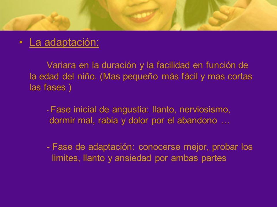 La adaptación: Variara en la duración y la facilidad en función de la edad del niño. (Mas pequeño más fácil y mas cortas las fases ) - Fase inicial de