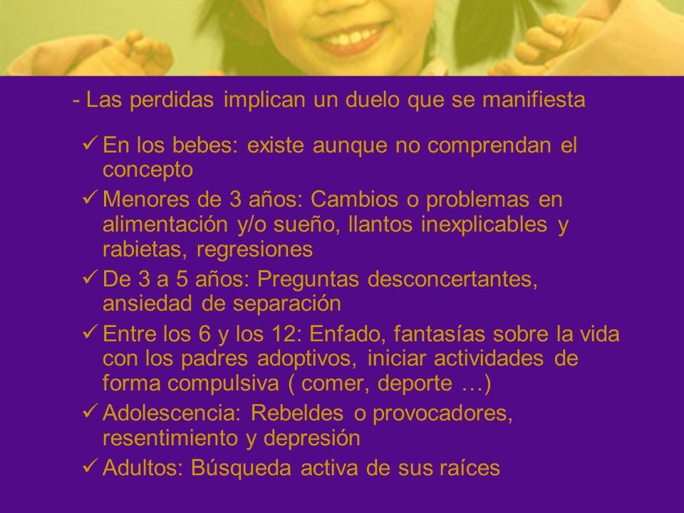 - Las perdidas implican un duelo que se manifiesta En los bebes: existe aunque no comprendan el concepto Menores de 3 años: Cambios o problemas en ali