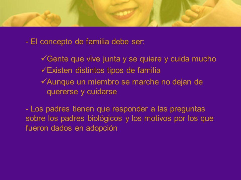 - El concepto de familia debe ser: Gente que vive junta y se quiere y cuida mucho Existen distintos tipos de familia Aunque un miembro se marche no de
