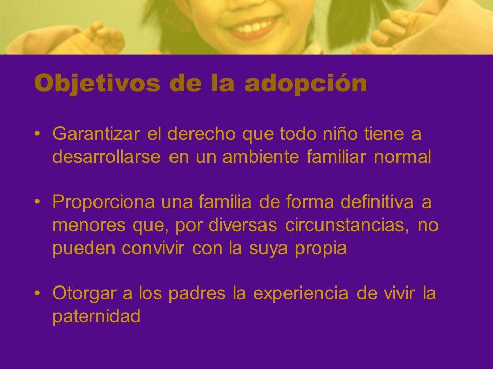 Objetivos de la adopción Garantizar el derecho que todo niño tiene a desarrollarse en un ambiente familiar normal Proporciona una familia de forma def