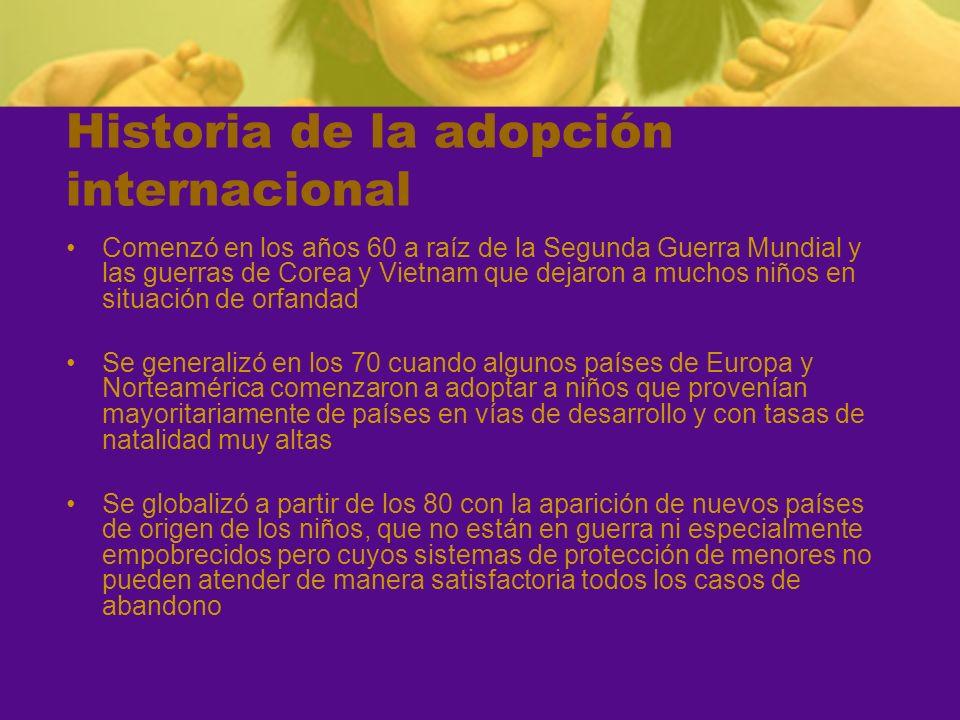 Historia de la adopción internacional Comenzó en los años 60 a raíz de la Segunda Guerra Mundial y las guerras de Corea y Vietnam que dejaron a muchos
