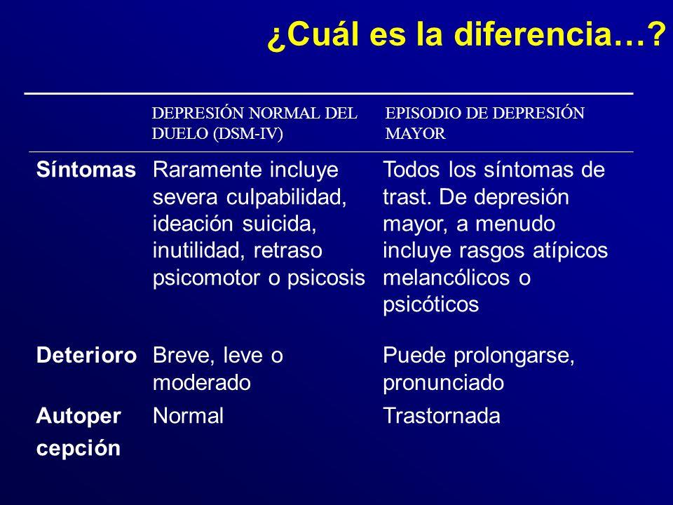 DEPRESIÓN NORMAL DEL DUELO (DSM-IV) EPISODIO DE DEPRESIÓN MAYOR ¿Cuál es la diferencia….