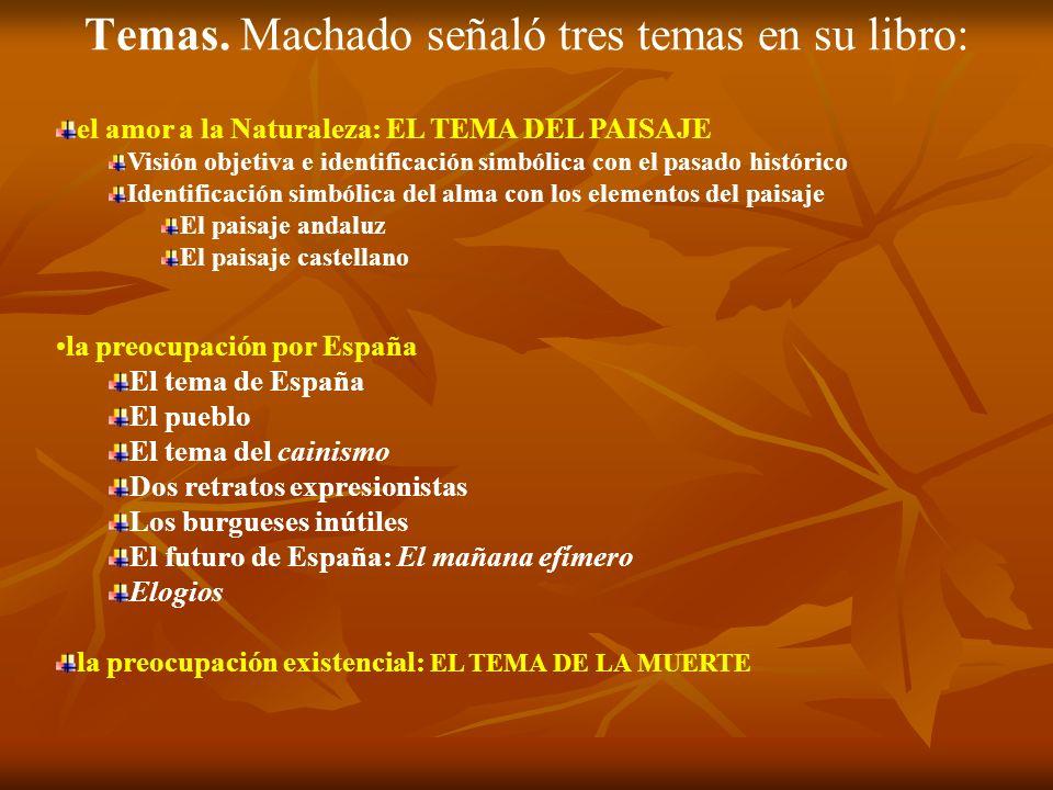 Temas. Machado señaló tres temas en su libro: el amor a la Naturaleza: EL TEMA DEL PAISAJE Visión objetiva e identificación simbólica con el pasado hi