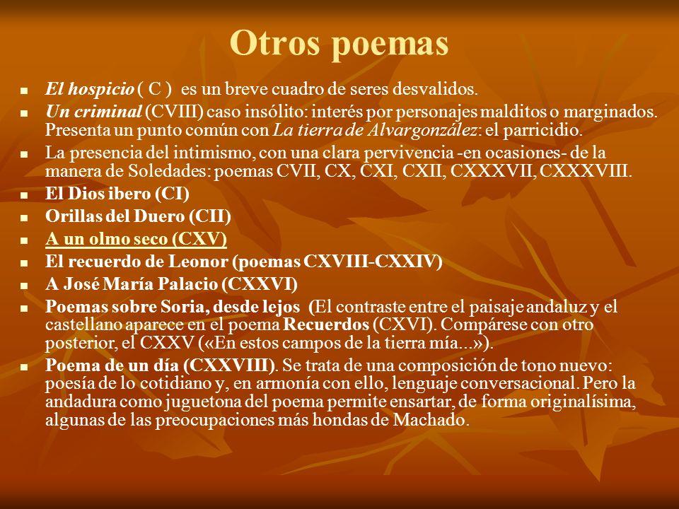 Otros poemas El hospicio ( C ) es un breve cuadro de seres desvalidos. Un criminal (CVIII) caso insólito: interés por personajes malditos o marginados