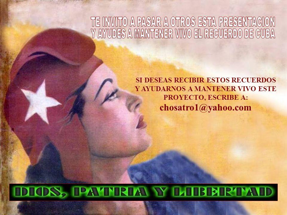 Inés Anido Carlos Vidal Chomy Garcés Aldo Uralde Emma Vasallo Rolando Castellanos y Rosa Valdes-Brito Carlos Luis Brito chosatro1@yahoo.com NO SE AUTORIZA LA REPRODUCCION DE ESTOS RECUERDOS CON CARACTER COMERCIAL ES IMPORTANTE QUE LAS FOTOS QUE ENVIAN NO TENGAN DERECHOS RESERVADOS