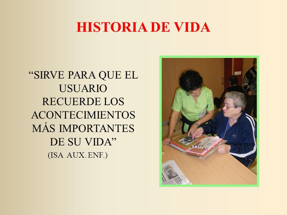 HISTORIA DE VIDA SIRVE PARA QUE EL USUARIO RECUERDE LOS ACONTECIMIENTOS MÁS IMPORTANTES DE SU VIDA (ISA AUX. ENF.)