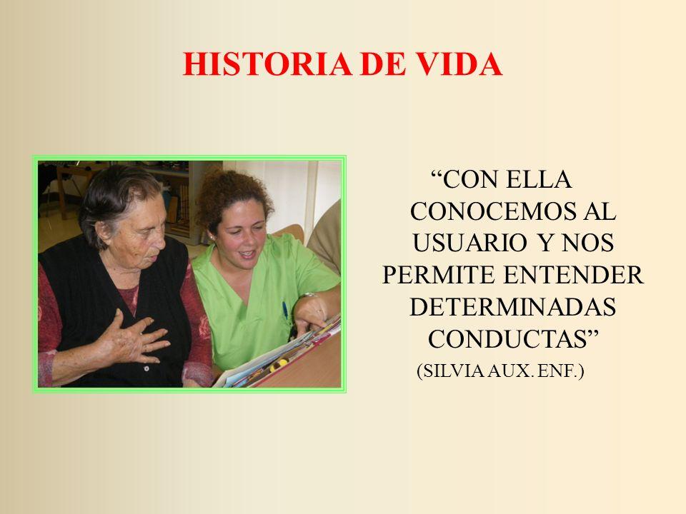 HISTORIA DE VIDA CON ELLA CONOCEMOS AL USUARIO Y NOS PERMITE ENTENDER DETERMINADAS CONDUCTAS (SILVIA AUX. ENF.)